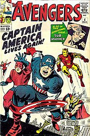 One of comics' most iconic covers: The Avengers #4 (March 1964). Art by Kirby & George Roussos.