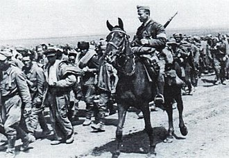 Operation München - Romanian cavalryman escorting Soviet prisoners