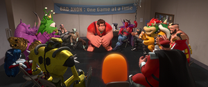 "M. Bison - The ""Bad-Anon"" villain meeting from Wreck-It Ralph features M. Bison and various other well-known video game characters, including Bowser, Clyde, Doctor Eggman, Neff, and Zangief."