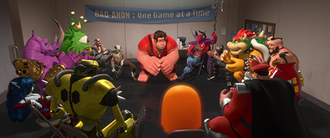 """M. Bison - The """"Bad-Anon"""" villain meeting from Wreck-It Ralph features M. Bison and various other well-known video game characters, including Bowser, Clyde, Doctor Eggman, Neff, and Zangief."""