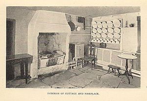 Burns Cottage - Image: Burns Cottage Interior Incl Fireplace Circa 1904