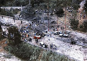 Capaci bombing - Aerial view of the bombing site on Highway A29