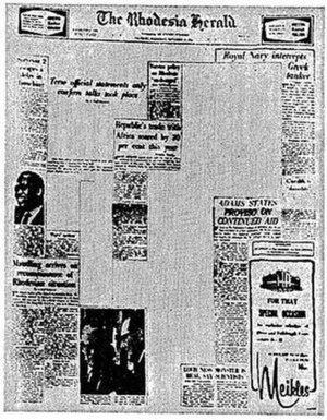 P. K. van der Byl - The Rhodesia Herald front page of 21 September 1966 shows the effect of censorship imposed by Van der Byl's ministry.