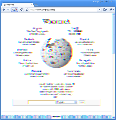 "Screenshot of Wikipedia.org on April 2nd, 2009 using Chrome ""3-D"". Note the red/blue glasses toggle switch at the top of the browser."