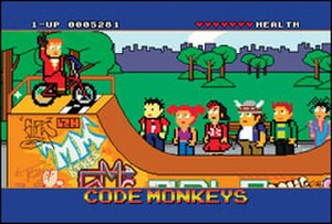 "Code Monkeys - A screenshot from ""Code Monkeys"", showcasing elements of the show: the health meter (upper-right), score (upper-left) and text box (bottom)."