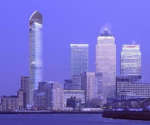 Columbus Tower (London) - Artist's impression with Columbus Tower on left and three existing tall buildings on right
