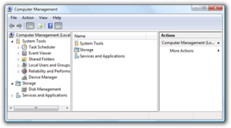 Management features new to Windows Vista - A screenshot of Windows Vista's Management Console