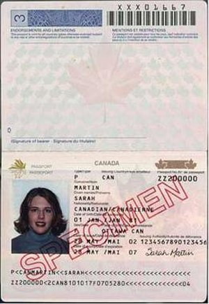 Canadian passport - Personal Data Page of a Canadian passport, from 2002 to 2010