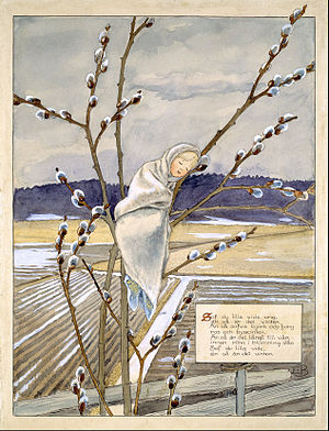 Elsa Beskow - Illustrated poem about trees in winter (early 1900s, Nationalmuseum Stockholm.)
