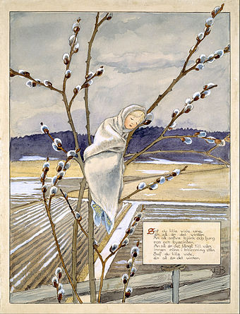 Illustrated poem about trees in winter (early 1900s, Nationalmuseum Stockholm.) Elsa Beskow - Sov du lilla videung, an sa ar det vinter... - Google Art Project.jpg