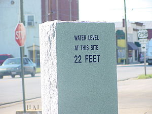 Flood level marker in downtown Franklin FranklinVirginia22FootWaterMarker.JPG
