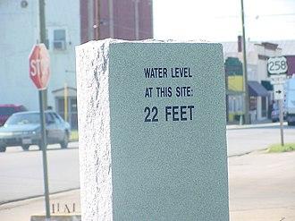 Franklin, Virginia -  Flood level marker in downtown Franklin