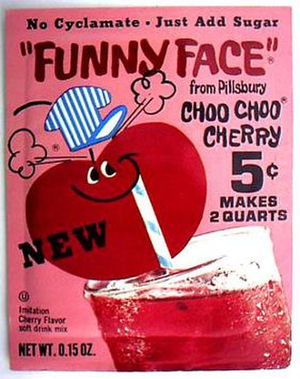 "Sodium cyclamate - Funny Face drink mix packet from 1970-71 advertising ""No Cyclamate - Just Add Sugar"""