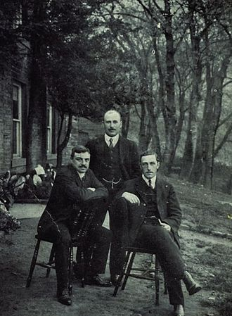 George Hirst - From left to right: The Yorkshire team-mates Schofield Haigh, Hirst and Wilfred Rhodes at Marsden, 1905