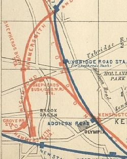 1889 railway map of Hammersmith showing Grove road station