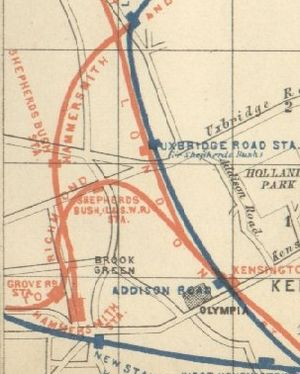 Shepherd's Bush railway station (1869-1916) - 1889 railway map of Shepherd's Bush showing station to the south of Shepherd's Bush Green