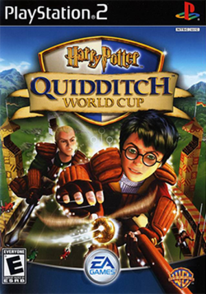 Harry Potter: Quidditch World Cup - The cover art with Harry Potter and Draco Malfoy trying to get the Snitch.