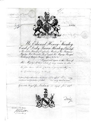 Edward Stanley, 15th Earl of Derby - Passport for a railway engineer dated 1876 containing Lord Stanley's full title and his signature.