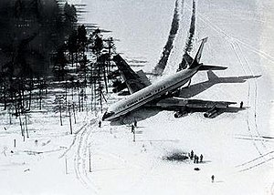 Korean Air Lines Flight 902 - The plane after landing in the Soviet Union, with visible damage to its left wing.