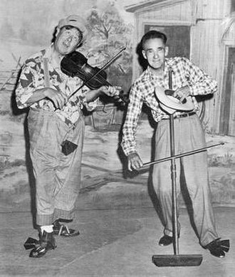 Lennie Aleshire - Aleshire (right) with Floyd Rutledge as Lennie and Goo Goo on Ozark Jubilee, 1955