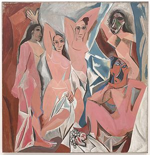 Primitivism - Les Demoiselles d'Avignon. The two figures on the right are the beginnings of Picasso's African period.