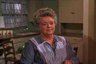 """Aunt Bee - Aunt Bee (Frances Bavier) in her kitchen wearing an apron, from """"The Mayberry Chef."""""""