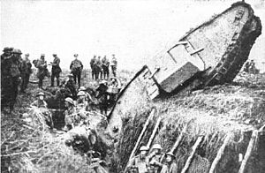 Armoured vehicle-launched bridge - British Mark I tank at Cambrai.
