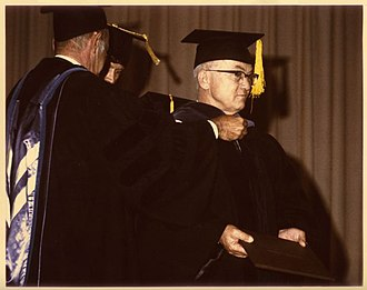 William Mulloy - Mulloy receiving an honorary doctorate from the University of Wyoming in 1976.