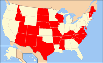 Nurse Licensure Compact - Map of the member states of the Nurse Licensure Compact shown in red.
