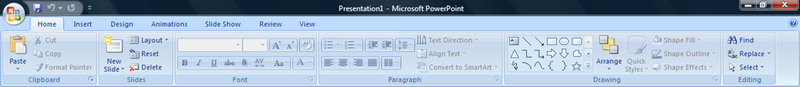 Ribbon in Microsoft PowerPoint 2007