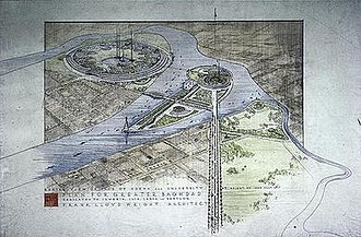 """Plan for Greater Baghdad - Aerial view of the plan for Baghdad. At top left is Wright's plan for Baghdad University and at bottom right a botanical garden. Visible on the Isle of Edena in the center are a statue of Harun al-Rashid (bottom left) and an opera house (top right). The inscription at the bottom names the plan and dedicates it to """"Sumeria, Isis, Larsa, and Babylon""""."""