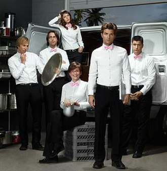 Party Down - The season two cast. From left to right: Ryan Hansen as Kyle Bradway, Martin Starr as Roman DeBeers, Lizzy Caplan as Casey Klein, Megan Mullally as Lydia Dunfree, Adam Scott as Henry Pollard and Ken Marino as Ron Donald.