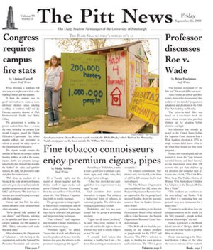 The Pitt News - Image: Pitt News Front Page Sept 262008