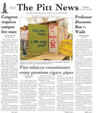 The Pitt News - The September 26, 2008 front page of The Pitt News