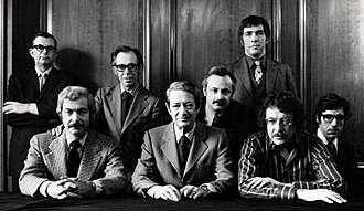 Playboy - The Editorial Board of Playboy in 1970. Back, left to right: Robie Macauley, Nat Lehrman, Richard M. Koff, Murray Fisher, Arthur Kretchmer; front: Sheldon Wax, Auguste Comte Spectorsky, Jack Kessie.