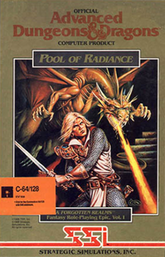Pool of Radiance - Commodore version of the box cover for the game