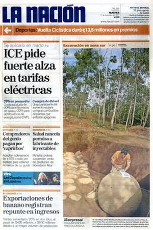La Nación (San José) - The December 11, 2007 front page of La Nación