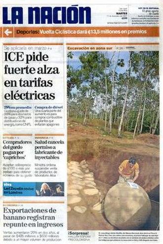 La Nación (San José) - The December 11, 2007 front page of La Nación