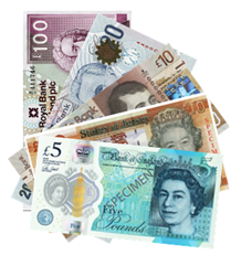 Pound sterling note selection