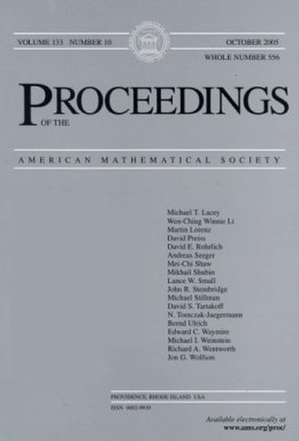 Proceedings of the American Mathematical Society - Image: Proceedings of the American Mathematical Society (front cover)