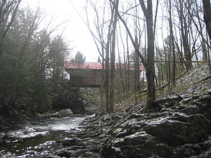 Morristown, Vermont - Red Bridge in Sterling Valley, Morristown, Vermont