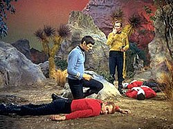 250px Redshirt_characters_from_Star_Trek redshirt (stock character) wikipedia