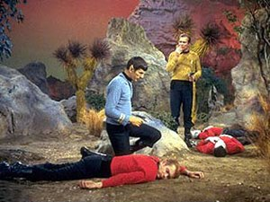 "Redshirt (character) - Captain Kirk and Mr. Spock discover dead ""redshirts"" in the Star Trek episode ""Obsession"" (1967)."