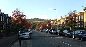 Murrayfield - Corstorphine Hill, seen in the north from a residential street in the Murrayfield area