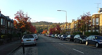 Corstorphine Hill - Corstorphine Hill, seen in the south from a residential street in the Balgreen area