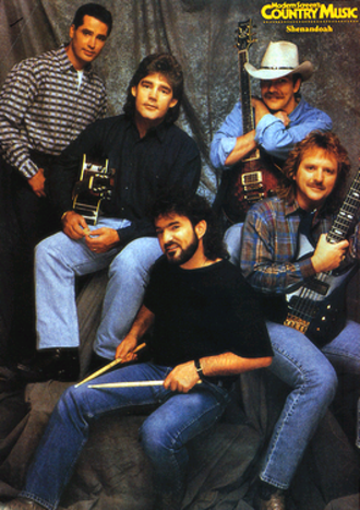 Shenandoah (band) - The original lineup as depicted in Modern Screen's Country Music magazine, August 1994. Top, L-R: Stan Thorn, Marty Raybon, Jim Seales. Bottom: Mike McGuire (left) and Ralph Ezell.