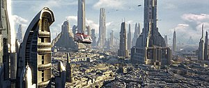 Star Tours – The Adventures Continue - Starspeeder 1000 flying in Coruscant