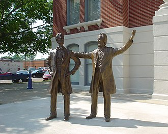 Shelbyville, Illinois - A statue of Abraham Lincoln in front of the Shelbyville Courthouse