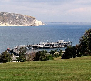 Swanage Pier - Swanage Pier as seen from the Downs at the southern end of Swanage