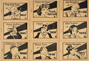 "Tijuana bible - A set of Tijuana bibles drawn by ""Mr. Prolific"". This set was released in 1936 and usually sold for a quarter each. Nine of the ten comics in the set are shown."